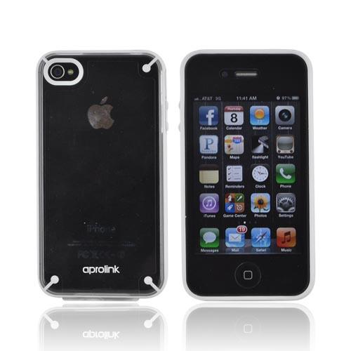 Original Aprolink AT&T/ Verizon Apple iPhone 4, iPhone 4S Fusion Dual Shell Hard Case, IPF-406-04 - White/ Transparent Clear