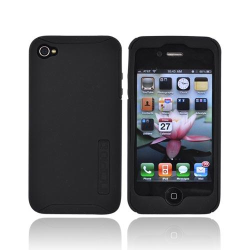 Original Incipio Apple Verizon/ AT&T iPhone 4, iPhone 4S Silicrylic Dual Hard Case on Silicone w/ Screen Protector, IPH-506 - Black on Black