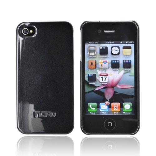 Incipio Pearl Metallic Black Ultra Thin Feather Series Hard Case w/ 2 Screen Protectors for Apple iPhone 4/4S - IPH-516