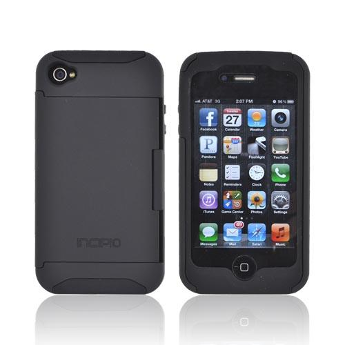 Original Incipio Stowaway AT&T/ Verizon Apple iPhone 4, iPhone 4S Hard Case on Silicone w/ ID & Card Compartment & Screen Protector, IPH-677 - Black