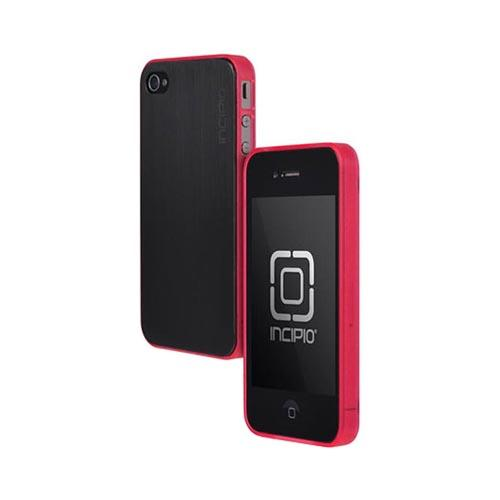 Original Incipio AT&T/ Verizon Apple iPhone 4, iPhone 4S Le Deux Brushed Aluminum Hard Back w/ Transparent Gummy Silicone Border Case, IPH-682 - Black/ Hot Pink
