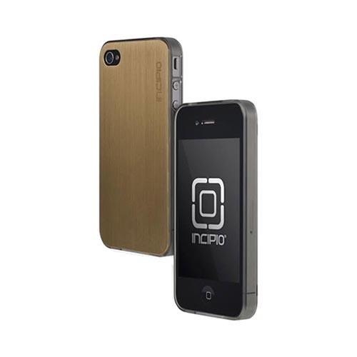 Original Incipio AT&T/ Verizon Apple iPhone 4, iPhone 4S Le Deux Brushed Aluminum Hard Back w/ Transparent Gummy Silicone Border Case, IPH-683 - Gold/ Smoke