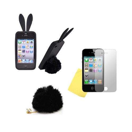 AT&T/ Verizon Apple iPhone 4, iPhone 4S Bunny Bundle w/ Black Silicone Case w/ Fur Tail Stand, Black Fur Stopple, & Mirror Screen Protector