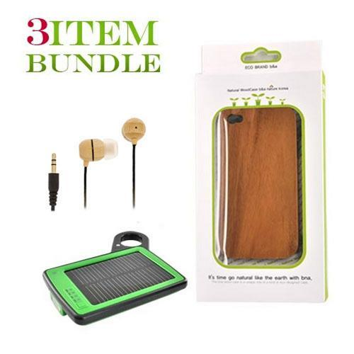 Apple iPhone 4 Bundle Package - Wood Case, Bamboo Ecobud Headphones & Solar Power Charger - (Eco-friendly Combo)