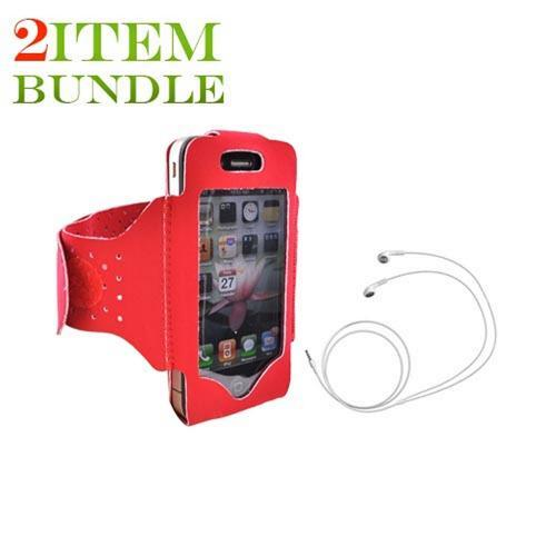 Apple iPhone 4/4S Bundle Package - Red Armband & Apple Stereo Headset - (Athlete Combo)