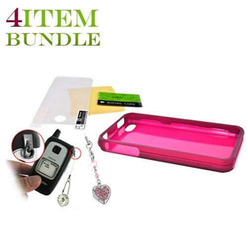 Apple iPhone 4 Bundle Package - Rubberized Hard Case, Mirror Screen Protector & Sparkling Heart Charm - (Geeky in pink Combo)