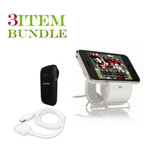 Apple iPhone 4 Bundle Package - Sinjimoru Sync & Charge Dock Stand & Samsung HF1000 Hands-free Bluetooth Speakerphone - (Workaholic Combo)