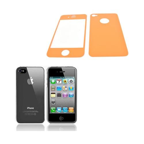 AT&T/ Verizon Apple iPhone 4, iPhone 4S Basic Bundle w/ Clear Hard Case & Screen Protector & Protective Skin (Front & Back) - Orange