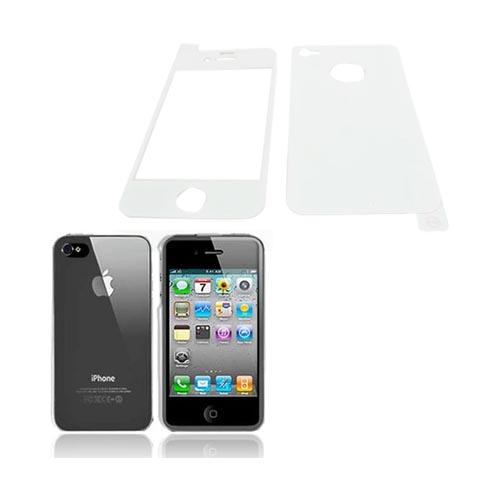 AT&T/ Verizon Apple iPhone 4, iPhone 4S Basic Bundle w/ Clear Hard Case & Screen Protector & Protective Skin (Front & Back) - White