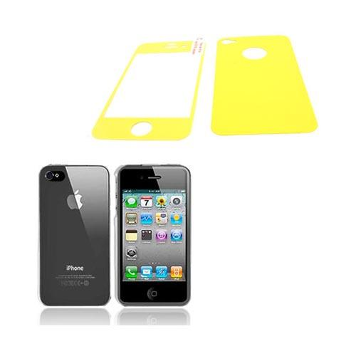 AT&T/ Verizon Apple iPhone 4, iPhone 4S Basic Bundle w/ Clear Hard Case & Screen Protector & Protective Skin (Front & Back) - Yellow