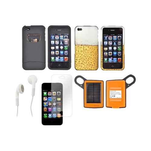 AT&T/ Verizon Apple iPhone 4, iPhone 4S Summer Bundle Package w/ DiCAPac Waterproof Phone Case, Anti-Glare Screen Protector, Solar Charger, 3.5mm Earbuds, and Portable Keychain Kick Stand