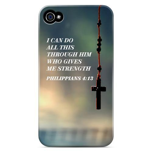 Geeks Designer Line (GDL) Bibles Series Apple iPhone 4 Matte Hard Back Cover - Philippians 4:13
