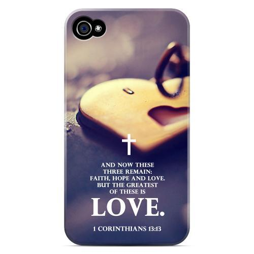 Geeks Designer Line (GDL) Bibles Series Apple iPhone 4 4 Matte Hard Back Cover - 1 Corinthians 13:13
