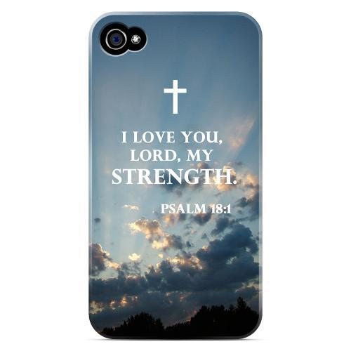 Geeks Designer Line (GDL) Bibles Series Apple iPhone 4 Matte Hard Back Cover - Psalm 18:1