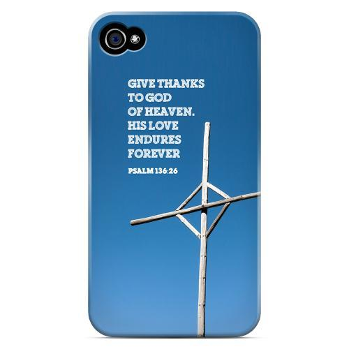 Geeks Designer Line (GDL) Bibles Series Apple iPhone 4 Matte Hard Back Cover - Psalm 136:26