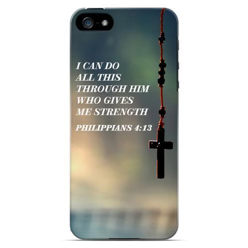 Geeks Designer Line (GDL) Bibles Series Apple iPhone 5 Slim Hard Back Cover - Philippians 4:13