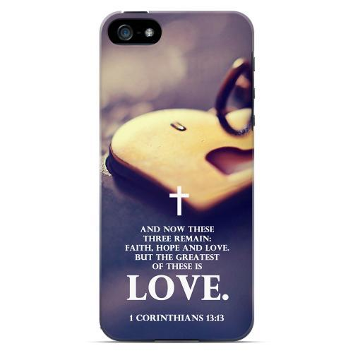Geeks Designer Line (GDL) Bibles Series Apple iPhone 5 4 Slim Hard Back Cover - 1 Corinthians 13:13