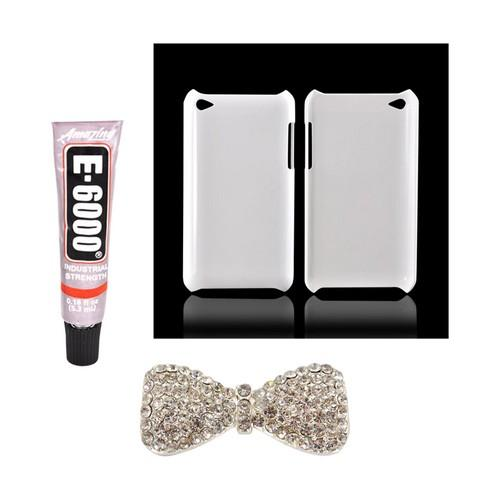 Apple iPod Touch 4 DIY Essential Bundle w/ Glossy White Ultra Slim Hard Case, Silver Bling Bow, & E-6000 Glue