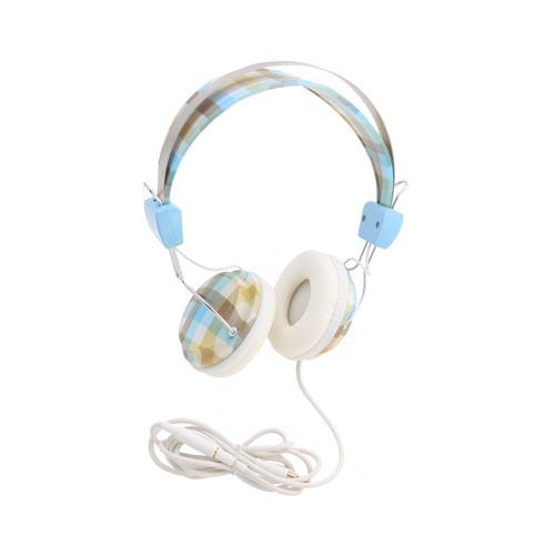 Original KonoAudio Universal Headphones w/ Ear Cushions (3.5mm), KA-ROH-103 - Plaid Pattern of Baby Blue, White, Brown, & Tan