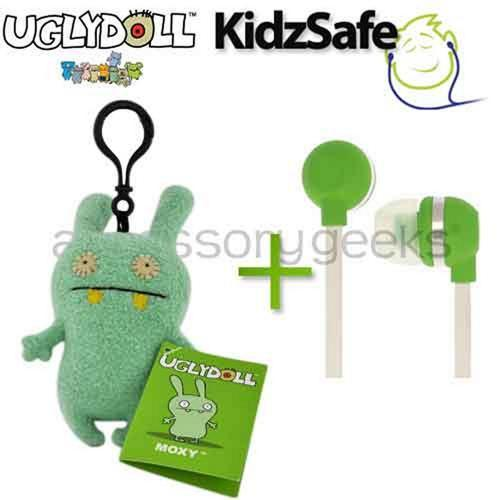 UGLYDOLL Moxy Charm + Kidzsafe KonoAudio Green 3.5mm Headset, COMBO for GREEN Lovers