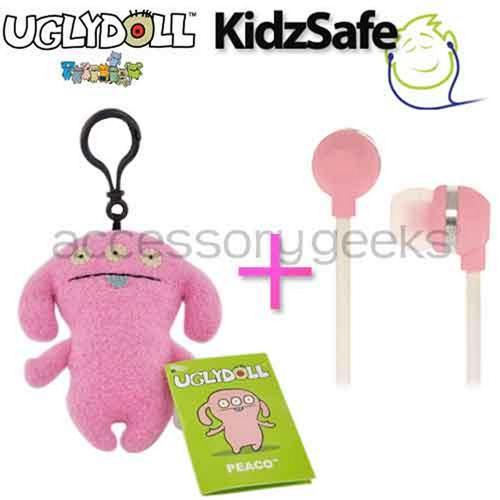 UGLYDOLL Peaco Charm + Kidzsafe KonoAudio Pink 3.5mm Headset, COMBO for PINK Lovers
