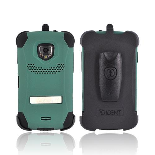 Original Trident Kraken Samsung Droid Charge Hard on Silicone Case w/ Built-In Screen Protector & Holster, KKK2-SCHG-BG - Green/ Black