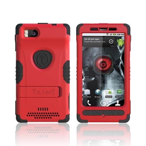 Original Trident Kraken 2 Motorola Droid X MB810/ X2 Anti-Skid Hard Cover Over Silicone w/ Holster & Built-In Screen Protector, KKN2-DX2-RD - Red/ Black