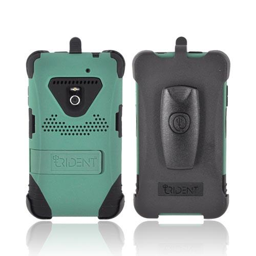 Original Trident Kraken LG Revolution, LG Esteem Anti-Skid Hard Cover on Silicone Case w/ Screen Protector, Kickstand, & Holster, KKN2-LG-REV-BG - Green/ Black
