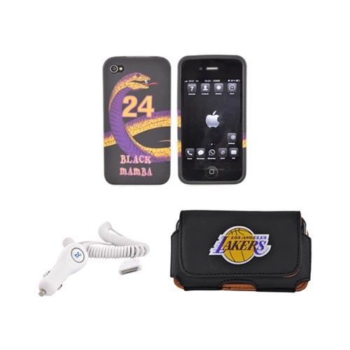 Apple iPhone 4/4S Lakers Bundle w/ Black Mamba Crystal Silicone Case, Lakers Armband Case, & Car Charger