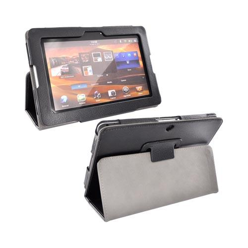 Premium Blackberry Playbook Leather Stand Case w/ Magnetic Closure - Black/ Gray