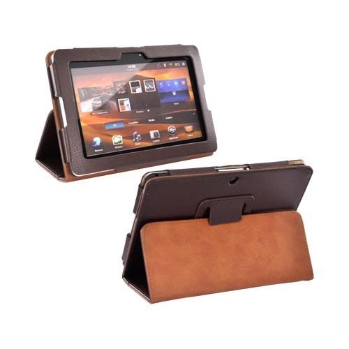 Premium Blackberry Playbook Leather Stand Case w/ Magnetic Closure - Brown