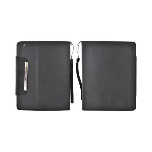 Apple iPad (2nd & 3rd Gen.) Leather Case w/ Lanyard & Note Slots - Black