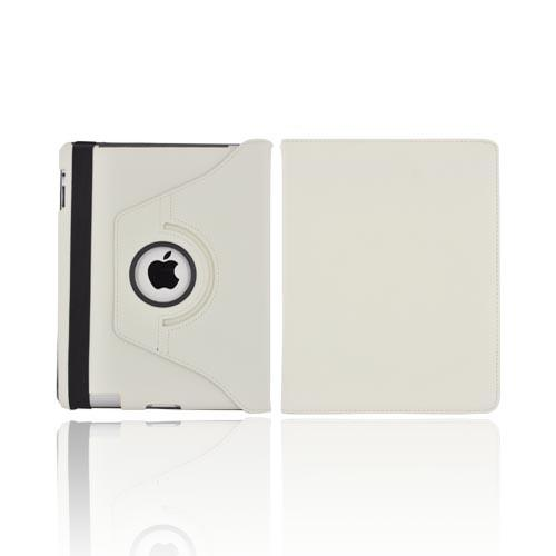 Premium New Apple iPad Leather Case Stand w/ Rotatable Shield - White