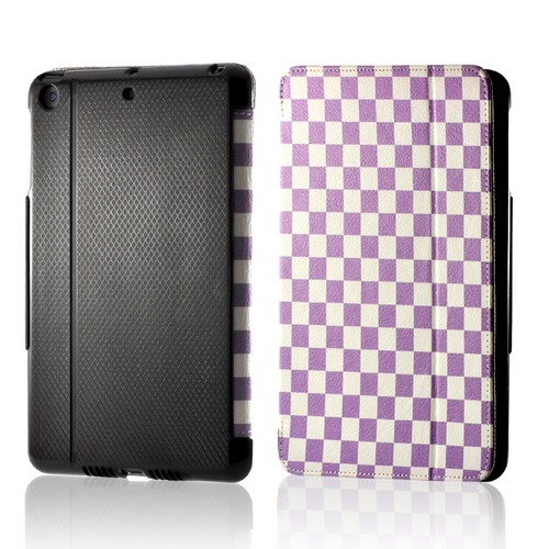 Purple/ White Checker Leather Case Stand w/ Hard Back for Apple iPad Mini