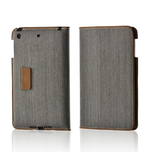 Gray/ Brown Fabric Case w/ Stand for Apple iPad Mini
