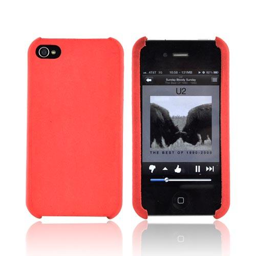 Original Cellet AT&T Apple iPhone 4 Genuine Cow Hide Leather Case - Red