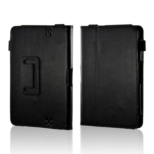 Black Leather Case Stand w/ Magnetic Closure for Amazon Kindle Fire HD