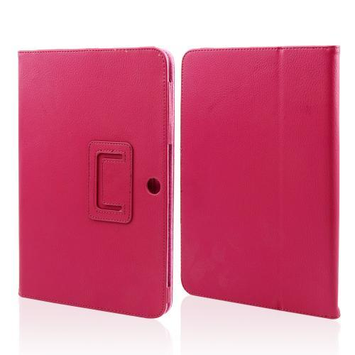 Rose Pink Faux Leather Case Stand w/ Magnetic Closure for Samsung Galaxy Tab 2 10.1
