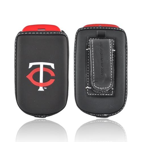 MLB Licensed Vertical Cell Phone Pouch Case w/ Belt Clip - Minnesota Twins (BL)