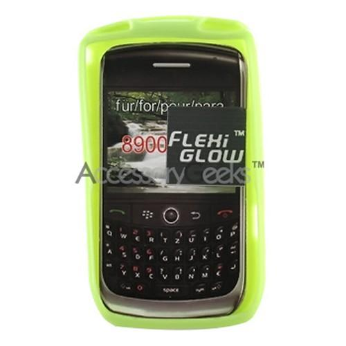Blackberry Curve 8900 Flexi Glow Silicone Case, Rubber Skin - Neon Green