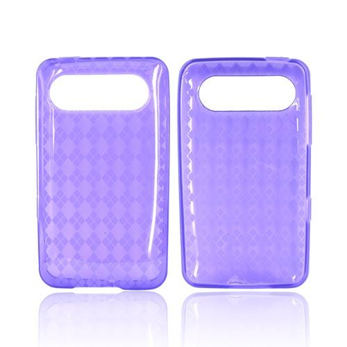 HTC HD7 / HTC HD7s Crystal Silicone Case - Transparent Argyle Purple