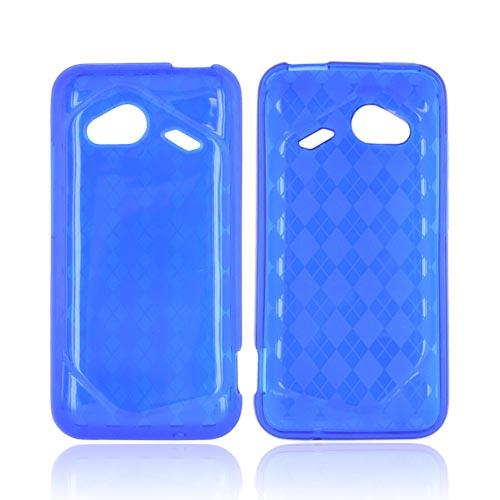 HTC Droid Incredible 4G Crystal Silicone Case - Argyle Blue