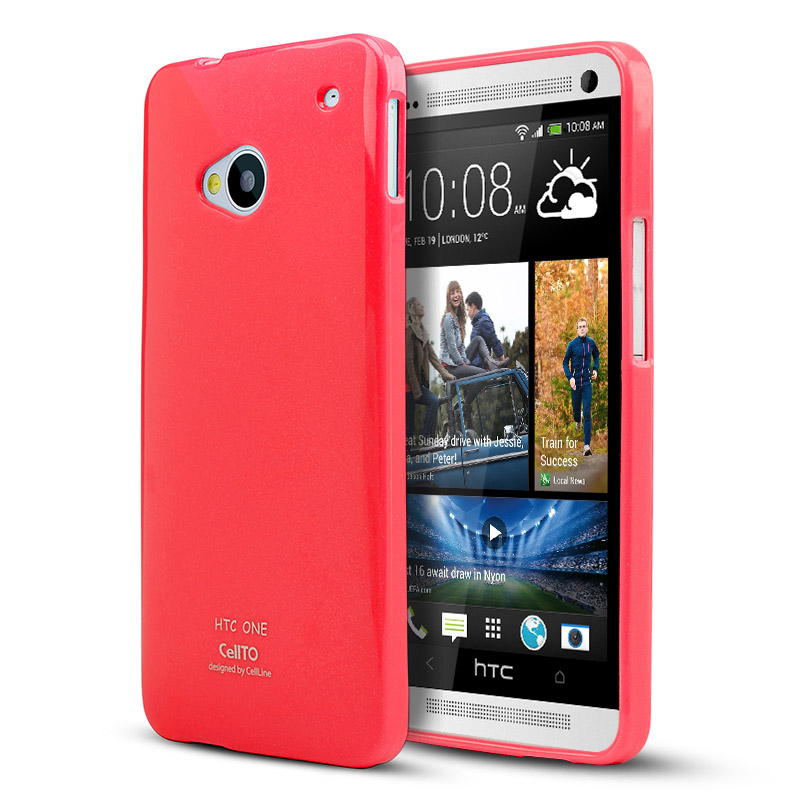 Hot Pink CellLine Crystal Silicone Skin Case for HTC One