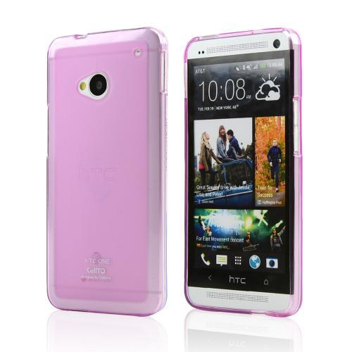 Hot Pink/ Frosted CellLine Matte Crystal Silicone Skin Case for HTC One