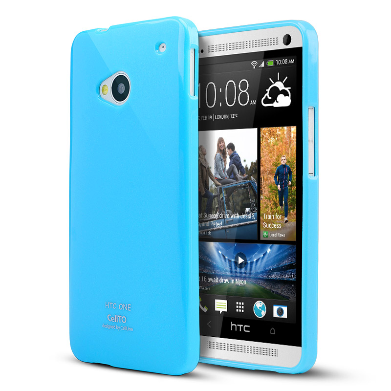 Sky Blue CellLine Crystal Silicone Skin Case for HTC One