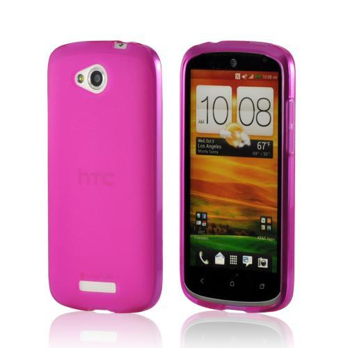 Pink Matte Crystal Silicone Case w/ Polished Border for HTC One VX