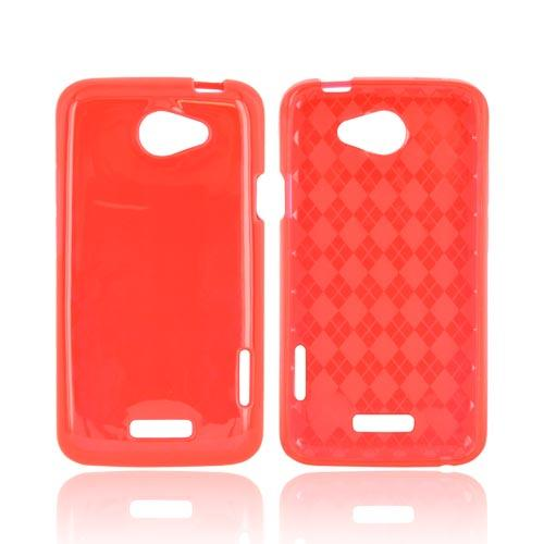 HTC One X Crystal Silicone Case - Argyle Red