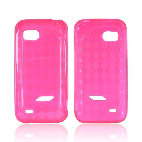 HTC Rezound Crystal Silicone Case - Argyle Hot Pink