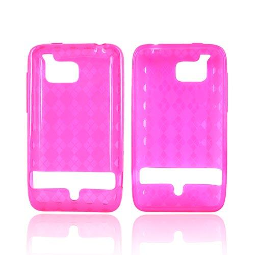 HTC Thunderbolt Crystal Silicone Case - Argyle Design on Hot Pink
