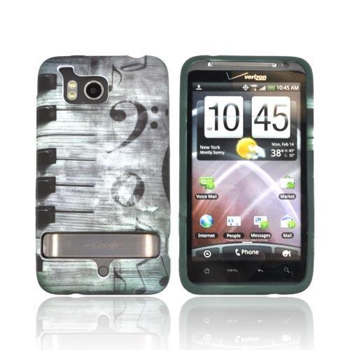HTC Thunderbolt Crystal Silicone Case - Forest Green/ Black/ White Piano